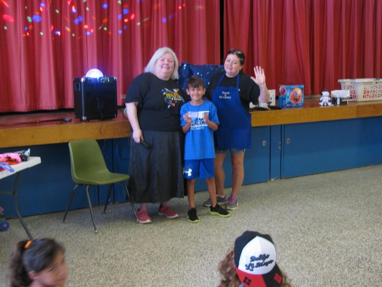 Mrs. Stacy & Mrs. Sharon posing with Thomas