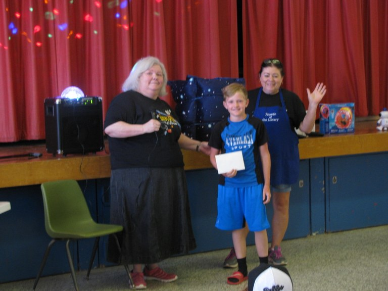 Jace won a donated prize of $10