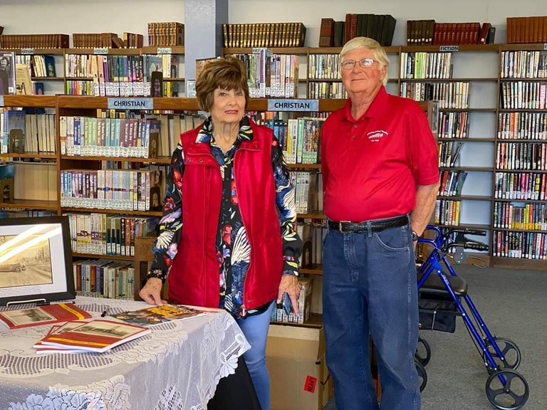 Robert Palmer with Ginger Beisch at her book signing at the library.