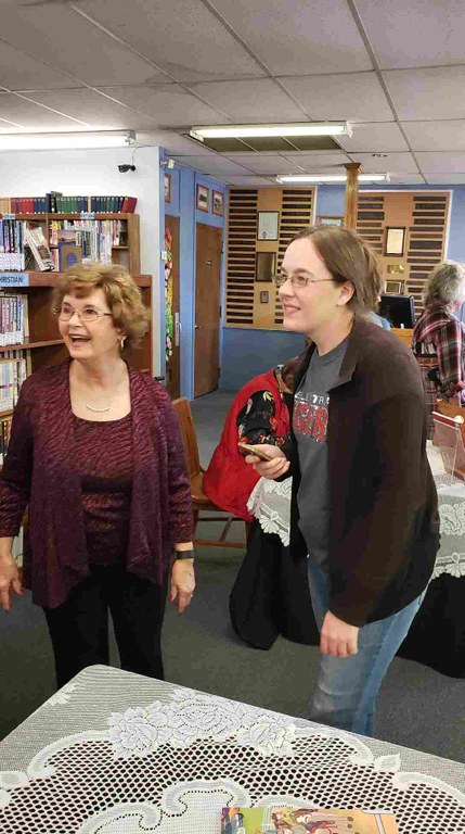 Mrs. Nancy Bigbie and daughter Rachel visiting with Mrs. B. after Nancy was honored at the Grand Theater.jpg